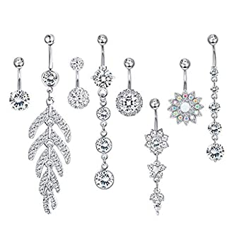 Milacolato 8pcs Stainless Steel Belly Button Rings for Womens Girls Navel Rings Barbell Dangle Acrylic CZ Flower Body Piercing Jewelry Silver