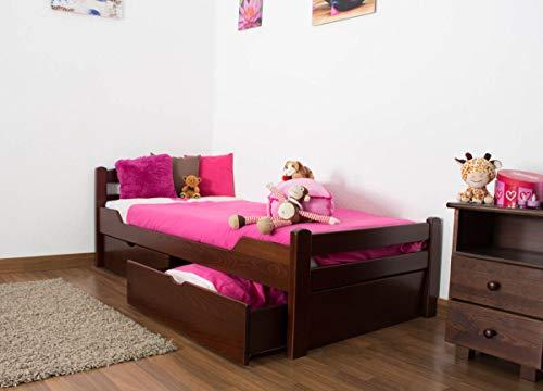 Kinderbett/JugendbettEasy Premium Line K1/2n inkl. 2 Schubladen und 2 Abdeckblenden, 90 x 200 cm Buche Vollholz massiv Dunkelbraun