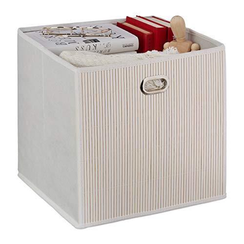 Relaxdays Aufbewahrungskorb Bambus, Badkörbchen quadratisch, Stoff Regalkorb hoch, HBT: 31 x 31 x 31 cm, faltbar, weiß
