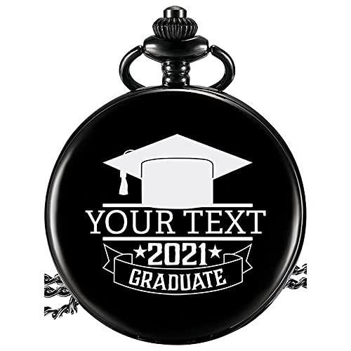 Reloj de Bolsillo Personalizado con Grabado Texto Relojes de Bolsillo con Cadena Vintage Clásico para Hombres Regalo de Graduación para Cumpleaños Aniversario Día del Padre (Negro 3)