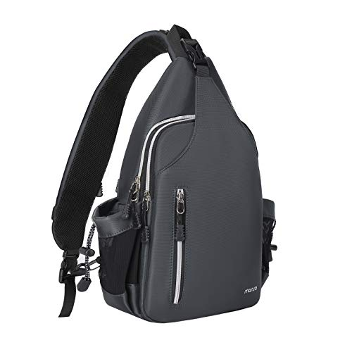 MOSISO Sling Backpack Double Layer Hiking Daypack Men/Women Chest Shoulder Bag, Space Gray