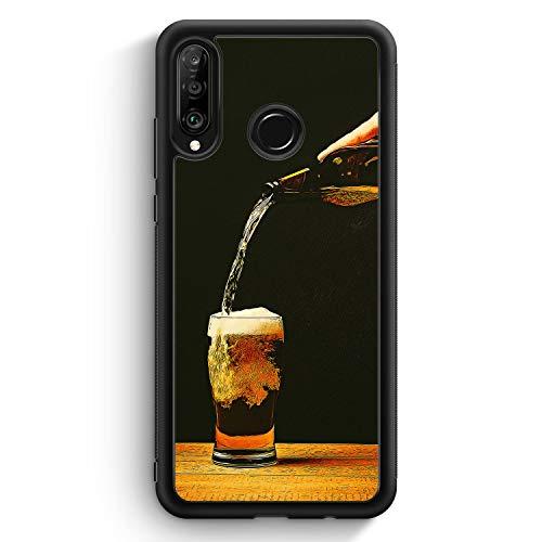 Bierglas Bier - Silikon Hülle für Huawei P30 Lite - Motiv Design Jungs Herren Männer - Cover Handyhülle Schutzhülle Hülle Schale