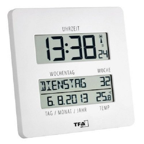 TFA Dostmann TIMELINE Digitale Funkuhr mit Temperatur, Kunststoff, weiß, (L) 195 x (B) 27 (110) x (H) 195 mm