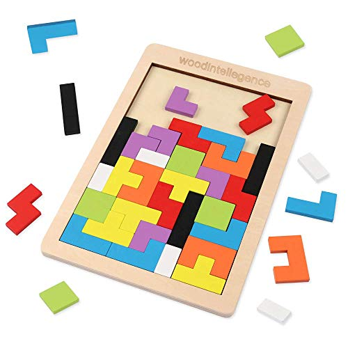 Wooden Blocks Puzzle Brain Teasers Toy Tangram Jigsaw Intelligence Colorful 3D Russian Blocks Game STEM Montessori Educational Gift for Baby Kids (40 Pcs)
