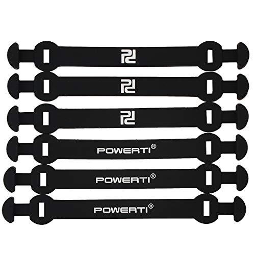 Andux Silicone Amortiguador de Vibraciones de Tenis Tipo de Hebilla Larga Reducir la Vibración 6 unids/Set BZQ-06 (Negro)
