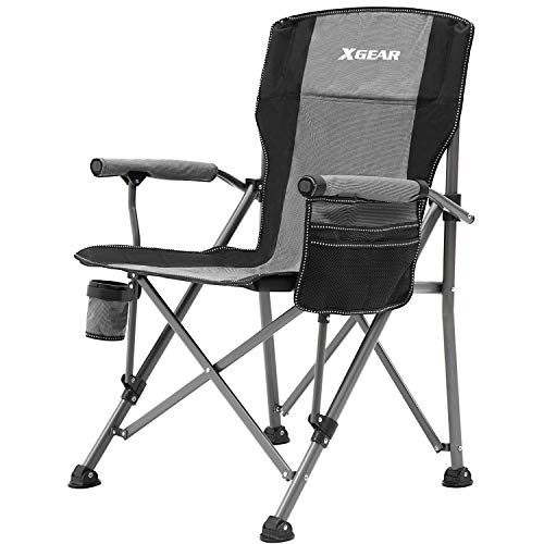 Camping Chair Hard Arm High Back Lawn Chair Heavy Duty with Cup Holder for Camp Fishing Hiking Outdoor Carry Bag Included Cool Gray
