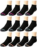 Reebok Girls' Lightweight Comfort Athletic Low Cut Socks (12 Pack) (Black/Pink/Navy, Small/Shoe Size: 4-8)'