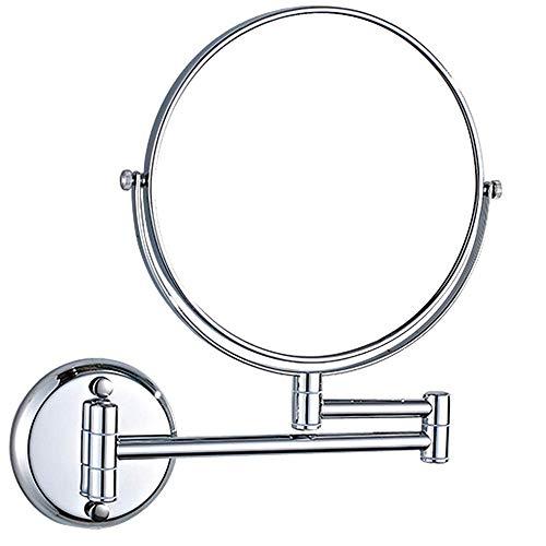 Taschen- und Armbanduhr 8-Zoll-Badezimmer Wandmontage doppelseitiger Kosmetikspiegel Klappbarer drehbarer Rasierspiegel 3-fache Vergrößerung Bad-Teleskopspiegel (Farbe: Silber1, Größe: 20x12,5 cm)