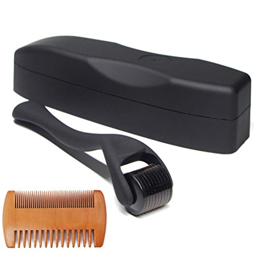 Beard Growth Kit, 0.5MM Matte Black Beard Growth Roller Titanium Micro...