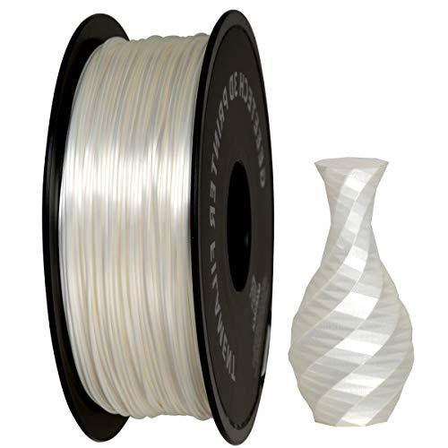 GIANTARM Filamento PLA 1.75mm Silk Blanco, Impresora 3D PLA Filamento 1 kg Carrete