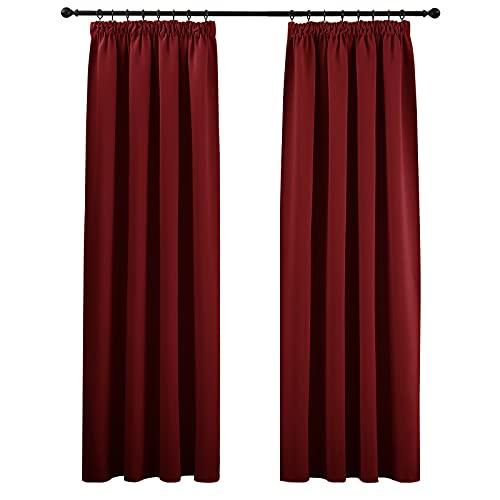 PONY DANCE Gardinen Blickdicht Rot - 2er Set H 245 x B 140 cm Blickdichter Vorhang mit Kräuselband Gardinen Wohnzimmer Thermovorhang Verdunkelung