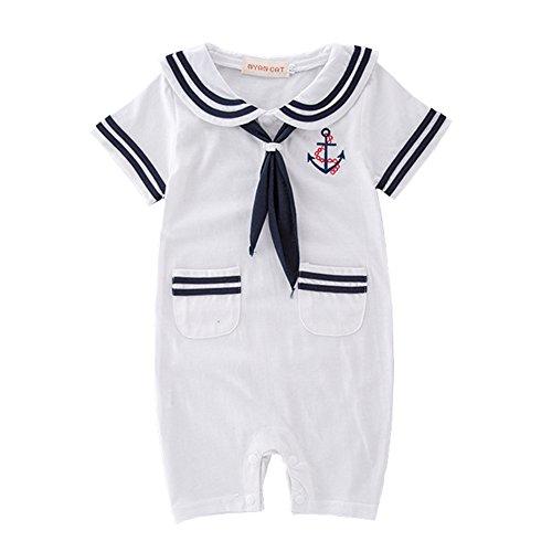 LOLANTA DREAMOWL Junge Kleinkind Matrosenanzug Streifen Strampler Navy Baby Body Outfit 6-12 monate weiß