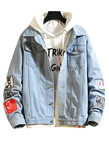 PASOK Men's Denim Hoodie Jacket Casual Slim Fit Button Down Jeans Coat Thin Style Blue S