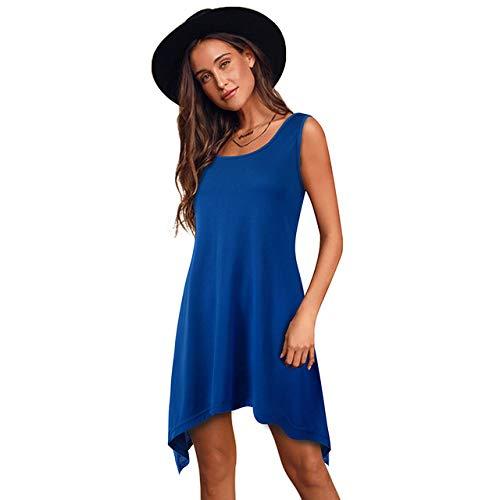 Aututer Orlo Irregolare Vestito Bella Forever Casual Tinta unita Vestito Sciolto Donna Classe Estate Vestito Manica Corta Blu S