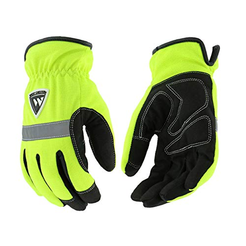 West Chester 96551 Hi-Vis Pro Series Gloves – Large, Green, Positherm Lined Gloves with Slip-on Cuff, Reflective Tape