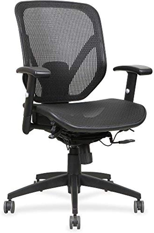 Lorell Mesh Seat Back Mid-Back Chair, Black