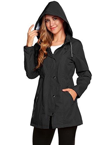 Regenjacke Leichte Damen Atmungsaktiv Wasserdicht Regenmantel Windbreaker Schwarz Outdoorjacke Funktionsjacke Windjacke Trenchcoat S