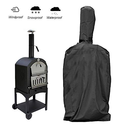 aheadad BBQ Grill Cover Barbecue Cover Waterproof Cloth Black Outdoor Pizza Oven Rainproof Windproof Cover Barbecue Box Dust Proof Anti-UV PVC Coating Cover