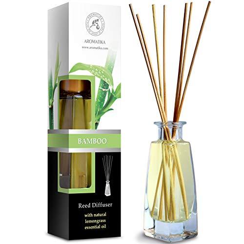 Bamboosmaak Binnenshuis 100ml met 8 Rotansticks - Intense en Langdurige Aroma's voor de Kamer - 0% Alcohol - 100% Natuurlijke met Bamboe Etherische Olie voor de Kamer - Restaurant - Kantoor - SPA - Aromatherapie