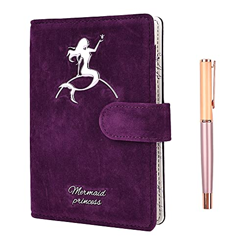 Mermaid Journal Notebook with Pen, A6 Refillable Ruled/lined Paper Diary Scrapbook Sketchbook, Gifts for Women Girls Purple