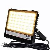 薄型軽量 ウォーム色 LED投光器 30W/50W/100W 電球色3000K 120°広角照明 ステー調整可 広範囲照射可能 放熱性抜群 IP66防水型 省エネ 3m配線コード付属 プラグあり 1年保証 (電球色, 50W)