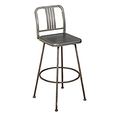 Target Marketing Systems Skyler Collection Model Industrial Metal Adjustable Swivel Bar Stool, With Adjustable Legs, Distressed Gray