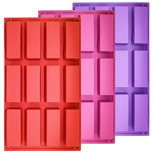Set of 3, 12 Cavity Medium Narrow Silicone Rectangle Molds, findTop Protein Bars mold Energy Bars Maker for Caramel Bread Loaf Muffin Brownie Cornbread Cheesecake Pudding Soap Butter Mould