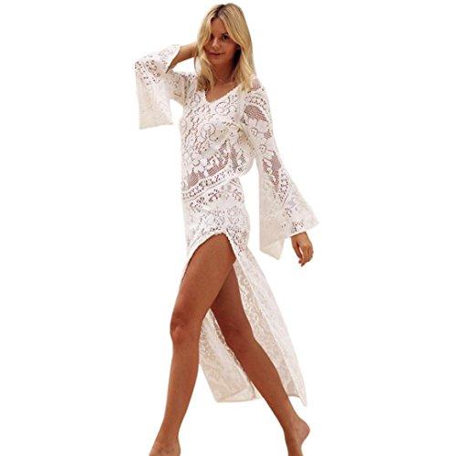 OverDose mujer de Manga Larga con Cuello en v sin Respaldo de Encaje Boho Sexy Lady Beach Summer Hawaii Vestido de Fiesta Maxi Vestido (S, Blanco)