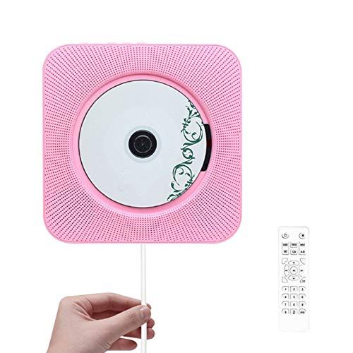 JFF Reproductor De CD Portátil Actualizado, Altavoces Bluetooth Y Radio FM con Pantalla LCD, Reproductor De Música De CD para Montar, Compatible con CD/Bluetooth/FM/U Disk/SD Card/AUX,Rosado
