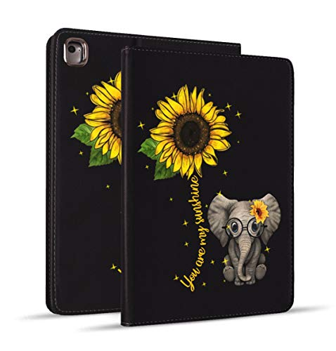iPad Mini 5 Case, Mini 4 Case, iPad Mini 1/2/3 Case, Protective Leather Case, Adjustable Stand Auto Wake/Sleep Smart Case for iPad Mini 5th/4th Gen 7.9 inch - Sunflower and Elephant
