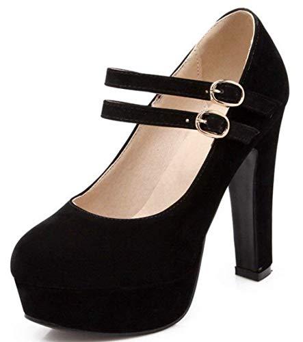 Damen knöchelriemen Abendschuhe Geschlossen Stilettos Schuhe Plateau Blockabsatz Pumps Klassische Elegant High Heels (EU34-45)