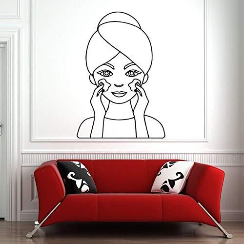 Etiqueta de la pared salón de spa cuidado facial masaje de piel mujer cara arte vinilo etiqueta de la pared salón de belleza chica decoración de interiores
