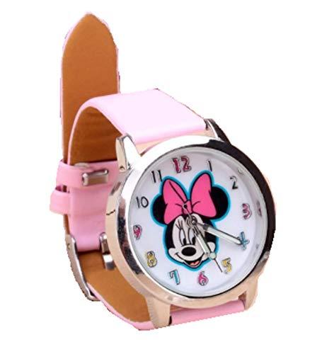 Reloj de pulsera analógico de Mickey para niñas, diseño de Minnie Mouse, color rosa claro