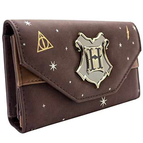 Hogwarts Potter Badge de crête Marron Portefeuille