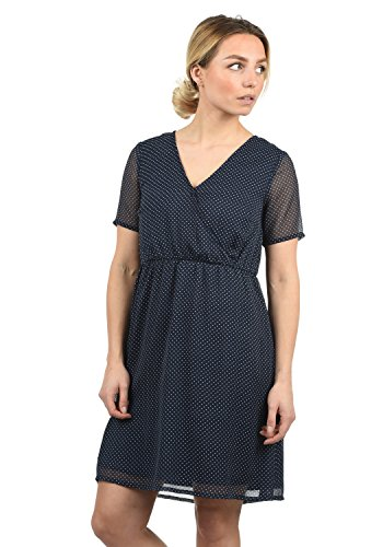 BlendShe Charlotte Damen Freizeitkleid Kleid Mit V-Ausschnitt Knielang, Größe:S, Farbe:Peacoat dot (24012)