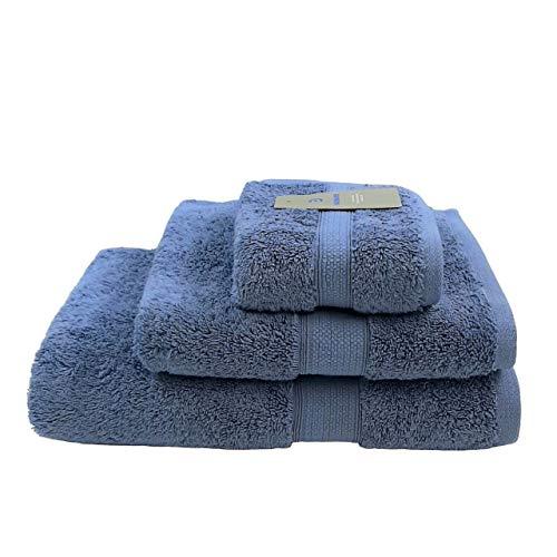 Bademayer Frottier Handtuch 3er Set aus 100{25c77a36f9de8f99bf3182f0f1ba4e7aa73bdd6c95a82281c7d973185de96776} Ägyptischer Baumwolle - Giza Premium-Qualität 600 g/m² Fusselfrei Handtuchset Duschtuch Handtuch Gästetuch Farbe: Blau