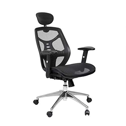 Bonzy Home Reclining Office Chair High Back - 300 LB Capacity Ergonomic Computer Mesh Recliner - Executive Swivel Office Desk Chair - Task Chair with Footrest and Lumbar Support (Black Mesh Seat)