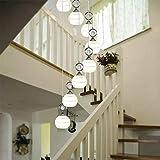 Lámpara de techo Lámparas Lámparas de techo de moderna minimalista restaurante Lámparas Duplex cristalino giratorio Escalera luces largas