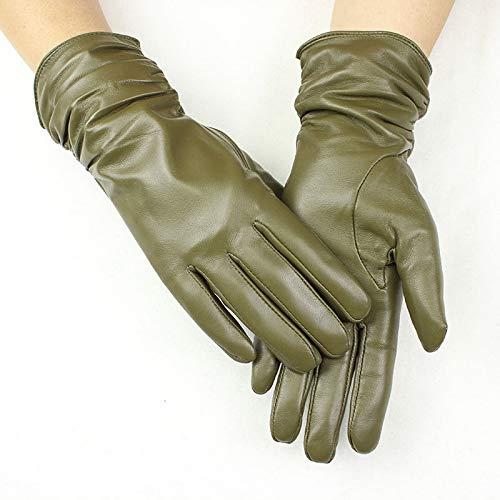 CCMOO 28 cm lange Schaffell Handschuhe Frauen elastischen Stil Multi-Color-Samt Futter Herbst und Winter warme Punkte weibliche Lederhandschuhe-Gras grün, 8 Geschenke