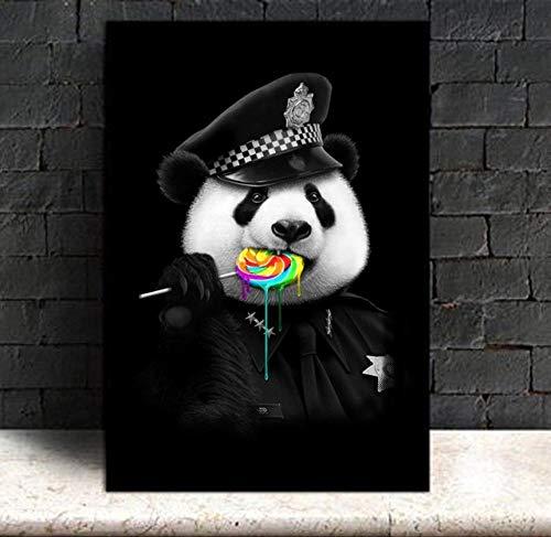 SADHAF Resumen Panda Policeman Eating Lollipop Canvas Print Painting Home Bedroom Kids Canvas Painting Home Decoration Wall Art A1 30x40cm