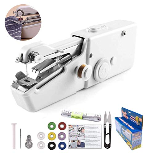 Handheld Sewing Machine Yibaision Portable Mini Electric Stitching Machine Fabric Curtains Cordless Craft Sewing Machine for Home Travel with Extra Bobbin, Needle and Threader 15 Pcs