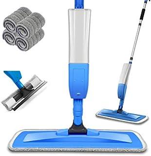 Balais Serpillère, Bellababy Spray Mop avec 4 Tampons de Vadrouille de Rechange, Balai Plat pour la Maison, la Cuisine, le...