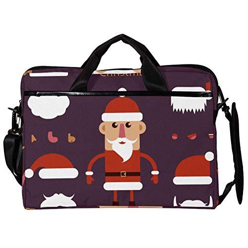 EZIOLY Santa Claus Hat and Mustache 14 Inch15 Inch Laptop Shoulder Messenger Bag Crossbody Briefcase Messenger Sleeve for 13 Inch to 14 inch Laptop