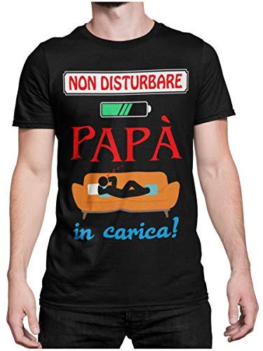 STAMPATEK Maglietta T-Shirt per la Festa del papà Maglia Meritato Riposo con Scritta Non Disturbare papà in Carica Idea Regalo