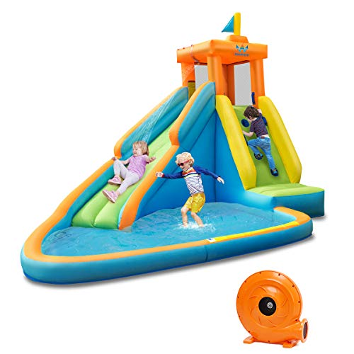 BOUNTECH Inflatable Water Slide, Bouncer Pool w/Long Slide, Climbing Wall, Including Oxford Carry Bag, Repairing Kit, Stakes, Hose, Castle Bounce House (with 740W Air Blower)