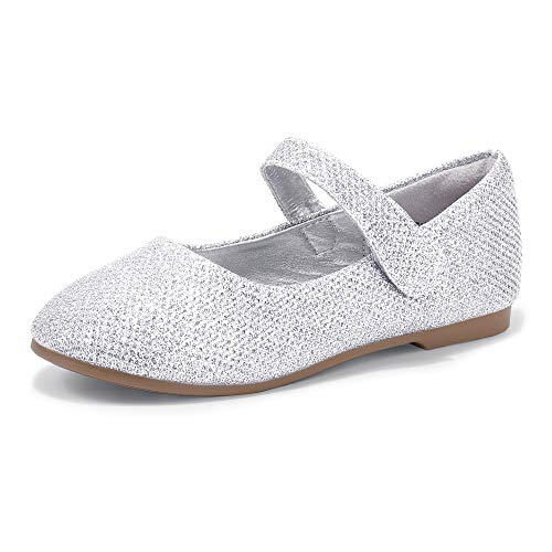 PANDANINJIA Toddler/Little Kid Girl's Susie Dress Mary Jane Ballet Flats Ballerina Flat Shoes for Wedding Party School (Silver Glitter, 10 M US Toddler)