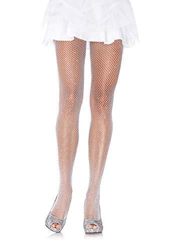 Leg Avenue 9012A - Halloween Special Netz Strumpfhosen, Einheitsgröße, weiß/Silber