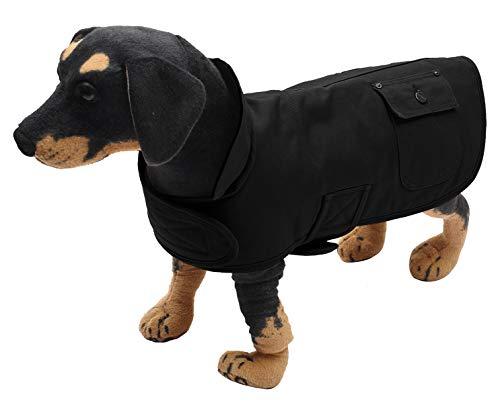 Geyecete - Cowboy-Stil Warmer hundemantel mit Tasche ,Segeltuch Hunde Winterjacke mit Winddichter Kragen, Outdoor-Hundebekleidung mit verstellbaren Klettverschluss-Schwarz-L