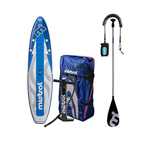 MISTRAL Unisex_Adult 11.5 SUP Adventure Combo Deal + Paddle + Leashline, Blue