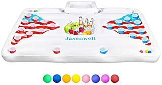 Jasonwell Beer Pong Pool Float - Inflatable Floating Beer Pong Table Party Pool Gmaes 6 Feet Lounge Raft Toys for Adults w...